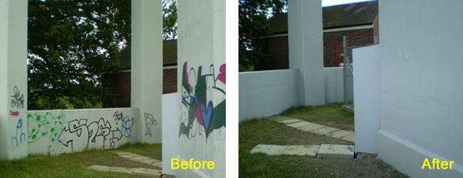 Spray Paint Graffiti Removed from Painted Concrete