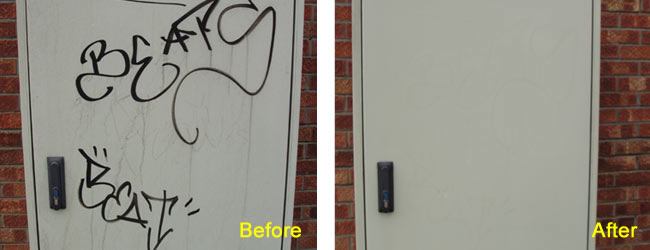 Marker Graffiti Removed From Powder Coated Finish